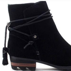 Sorel Farrah Black Suede Ankle Boots Size 9.5